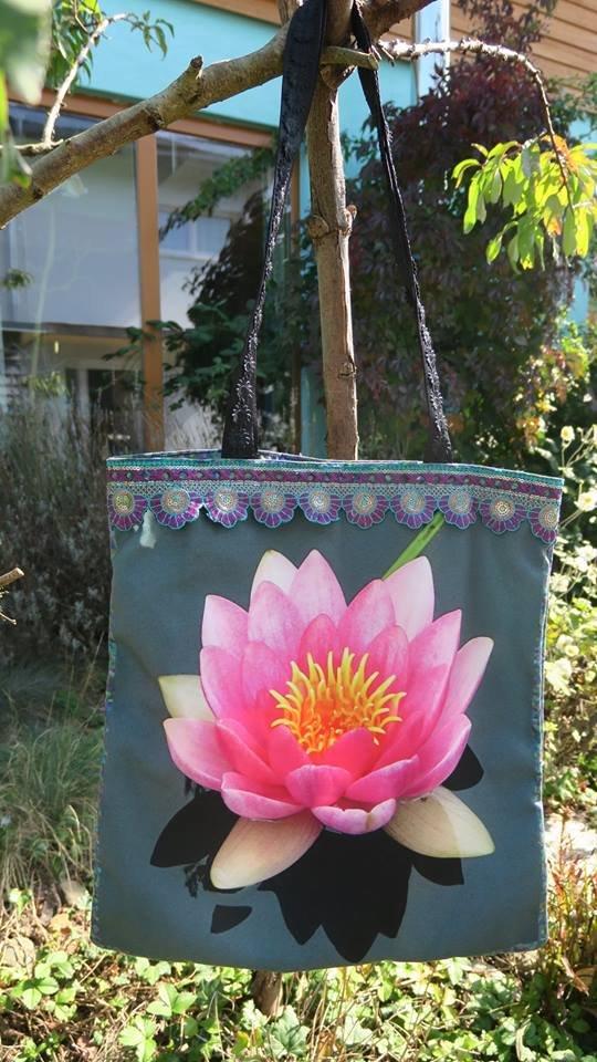 Tasche Wasserlilie: diese ist verkauft, aber ich kann etwas Ähnliches herstellen