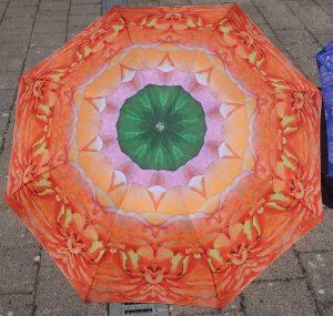 Orange and pink peony kaleidoscope
